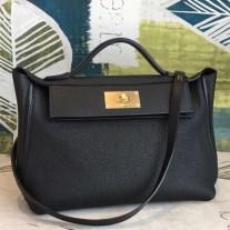 Hermes 24/24 29 Bags In Black Clemence Calfskin