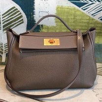 Hermes 24/24 29 Bags In Taupe Clemence Calfskin
