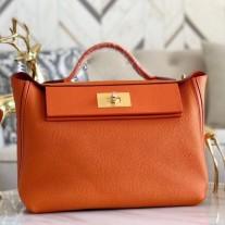 Hermes 24/24 29 Bags In Orange Clemence Calfskin