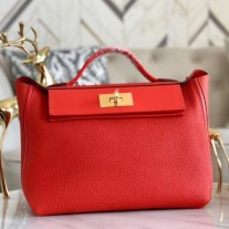 Hermes 24/24 29 Bags In Red Clemence Calfskin