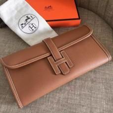 Hermes Jige Elan 29 Clutch Bags In Brown Epsom Leather