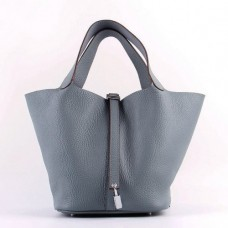 Hermes Picotin Lock Bags In Blue Lin Leather
