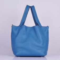 Hermes Picotin Lock Bags In Blue Leather
