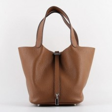 Hermes Picotin Lock Bags In Brown Leather