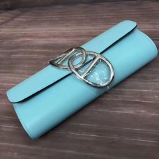 Hermes Handmade Egee Clutch In Atoll Blue Swift Leather