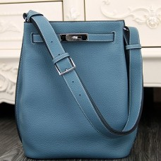 Hermes So Kelly 22cm Bags In Jean Blue Leather