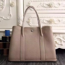 Hermes Small Garden Party 30cm Tote In Grey Leather