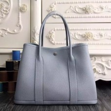 Hermes Small Garden Party 30cm Tote In Lin Blue Leather