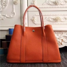 Hermes Small Garden Party 30cm Tote In Orange Leather