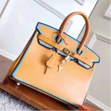 Hermes Yellow With Blue Piping Epsom Birkin 30cm Bags