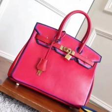 Hermes Red With Indigo Piping Goatskin Birkin 30cm Bags