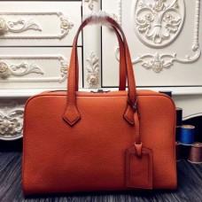 Hermes Victoria II 35cm Bags In Orange Leather