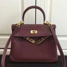 Hermes Kelly Ghillies 28cm In Burgundy Swift Leather