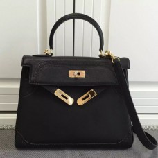 Hermes Kelly Ghillies 28cm In Black Swift Leather
