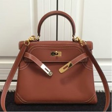 Hermes Kelly Ghillies 28cm In Brown Swift Leather