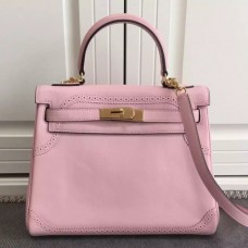 Hermes Kelly Ghillies 28cm In Pink Swift Leather