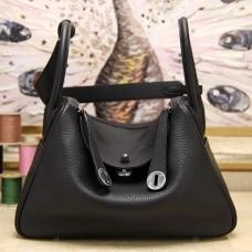 Hermes Black Clemence Lindy 30cm Bags
