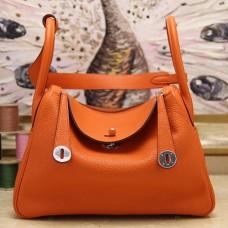 Hermes Orange Clemence Lindy 30cm Bags