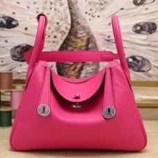 Hermes Rose Red Clemence Lindy 30cm Bags