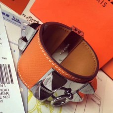 Hermes Orange Epsom Collier de Chien Bracelet Size S