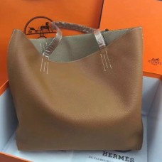 Hermes Double Sens 45cm Tote In Brown/Etoupe Leather
