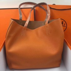 Hermes Double Sens 45cm Tote In Orange/Brown Leather