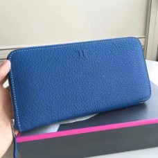 Hermes Blue Clemence Azap Zipped Wallet