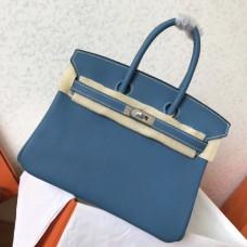 Hermes Blue Jean Clemence Birkin 25cm Handmade Bags