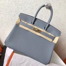 Hermes Blue Lin Clemence Birkin 25cm Handmade Bags