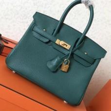 Hermes Malachite Clemence Birkin 25cm Handmade Bags