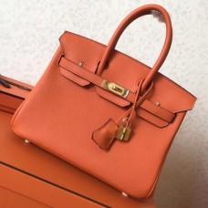 Hermes Orange Clemence Birkin 25cm Handmade Bags