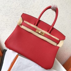 Hermes Red Clemence Birkin 25cm Handmade Bags