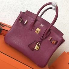 Hermes Ruby Clemence Birkin 25cm Handmade Bags