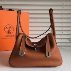 Hermes Brown Clemence Lindy 34cm Bags