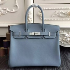 Hermes Birkin 30cm 35cm Bags In Blue Lin Clemence Leather