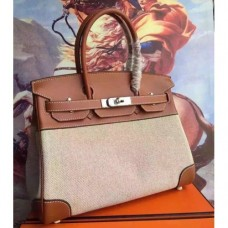 Hermes Canvas Birkin 30cm 35cm Bags With Brown Leather