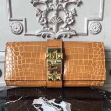 Hermes Medor Clutch Bags In Camarel Crocodile Leather