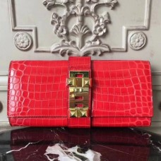 Hermes Medor Clutch Bags In Cherry Crocodile Leather