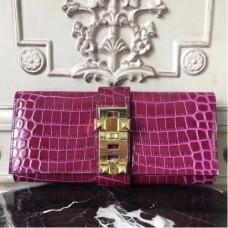Hermes Medor Clutch Bags In Fuchsia Crocodile Leather