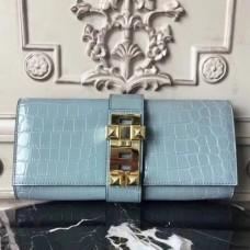Hermes Medor Clutch Bags In Ciel Crocodile Leather