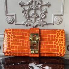 Hermes Medor Clutch Bags In Orange Crocodile Leather