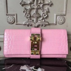 Hermes Medor Clutch Bags In Pink Crocodile Leather