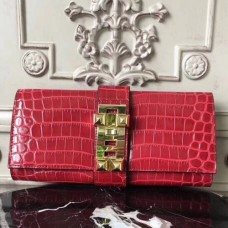 Hermes Medor Clutch Bags In Red Crocodile Leather