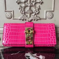 Hermes Medor Clutch Bags In Rose Red Crocodile Leather