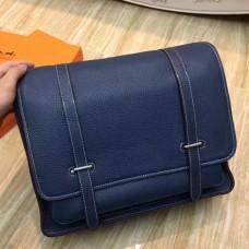 Hermes Dark Blue Steve 35 Messenger Bags