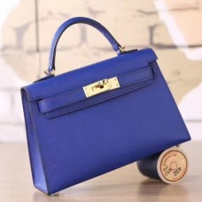 Hermes Electric Blue Epsom Kelly Mini II 20cm Handmade Bags