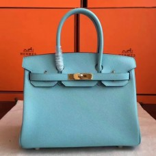 Hermes Blue Atoll Epsom Birkin 30cm Handmade Bags