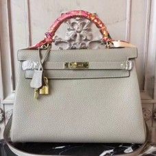 Hermes Light Grey Clemence Kelly 28cm Bags