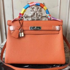 Hermes Orange Clemence Kelly 28cm Bags