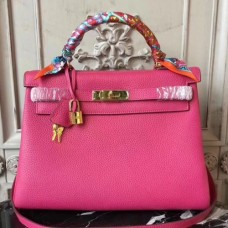 Hermes Rose Red Clemence Kelly 28cm Bags